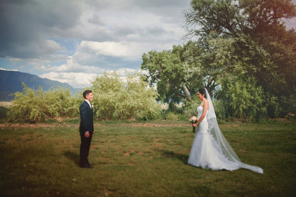 The bride and groom are standing at opposite sides of the frame and smiling at each other.
