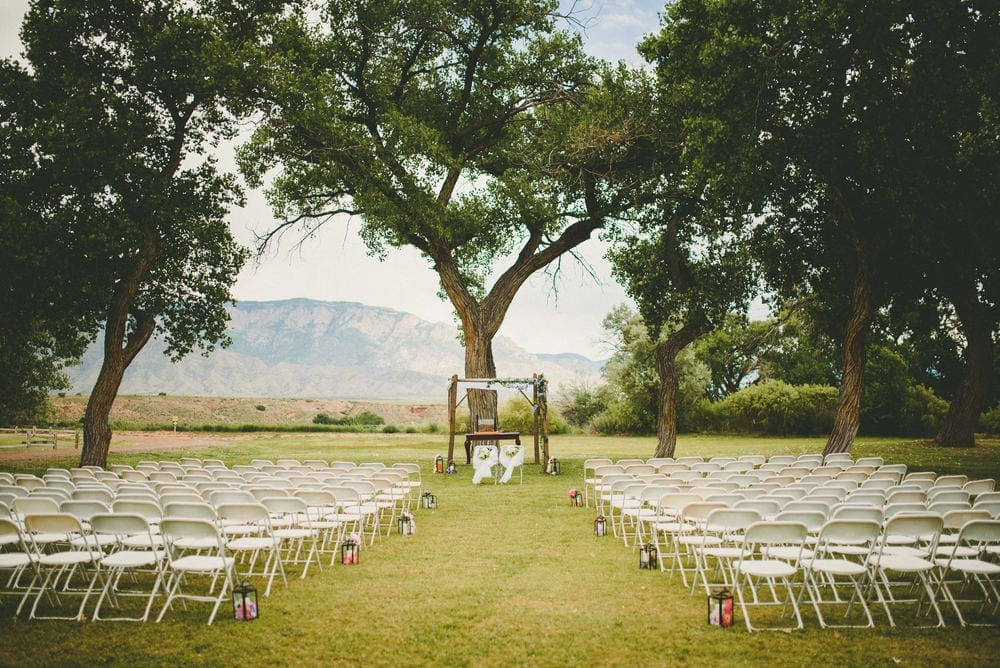Wedding venue at Sandia Lakes Park. The Sandia Mountains can be seen in the background.