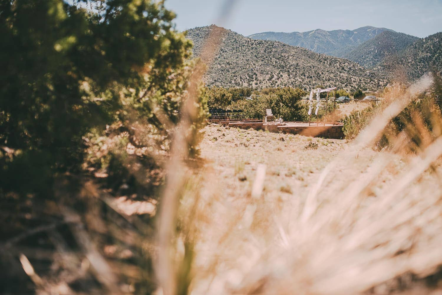 A wide view of this sandia mountains wedding