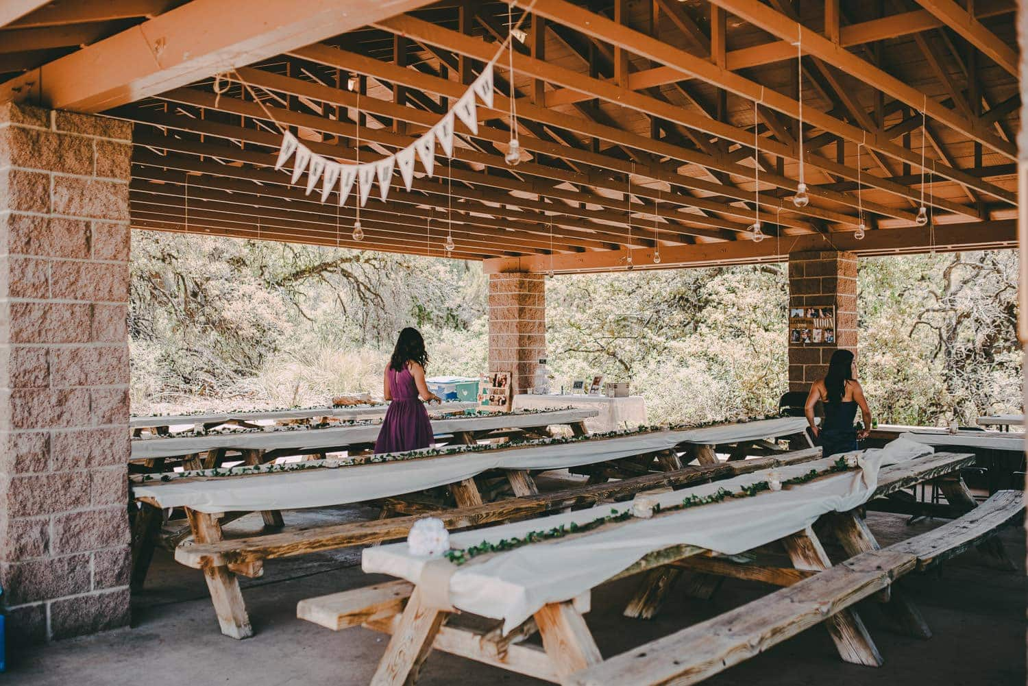 A wide view of the outdoor reception area at Elena Gallegos Park