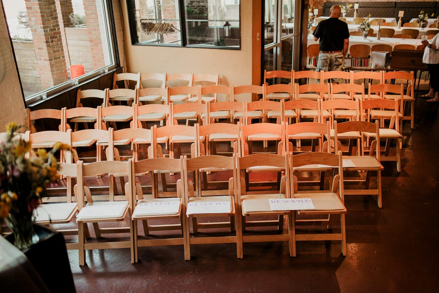 Chairs for the wedding ceremony viewed from above