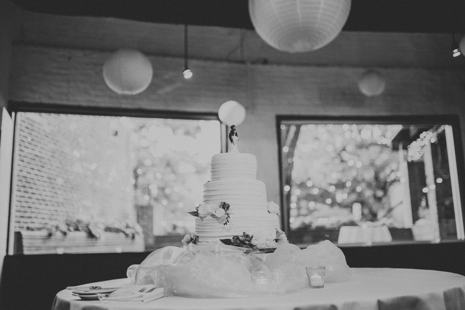 A view of the wedding cake at The Space Downtown in Charlottesville, Virginia