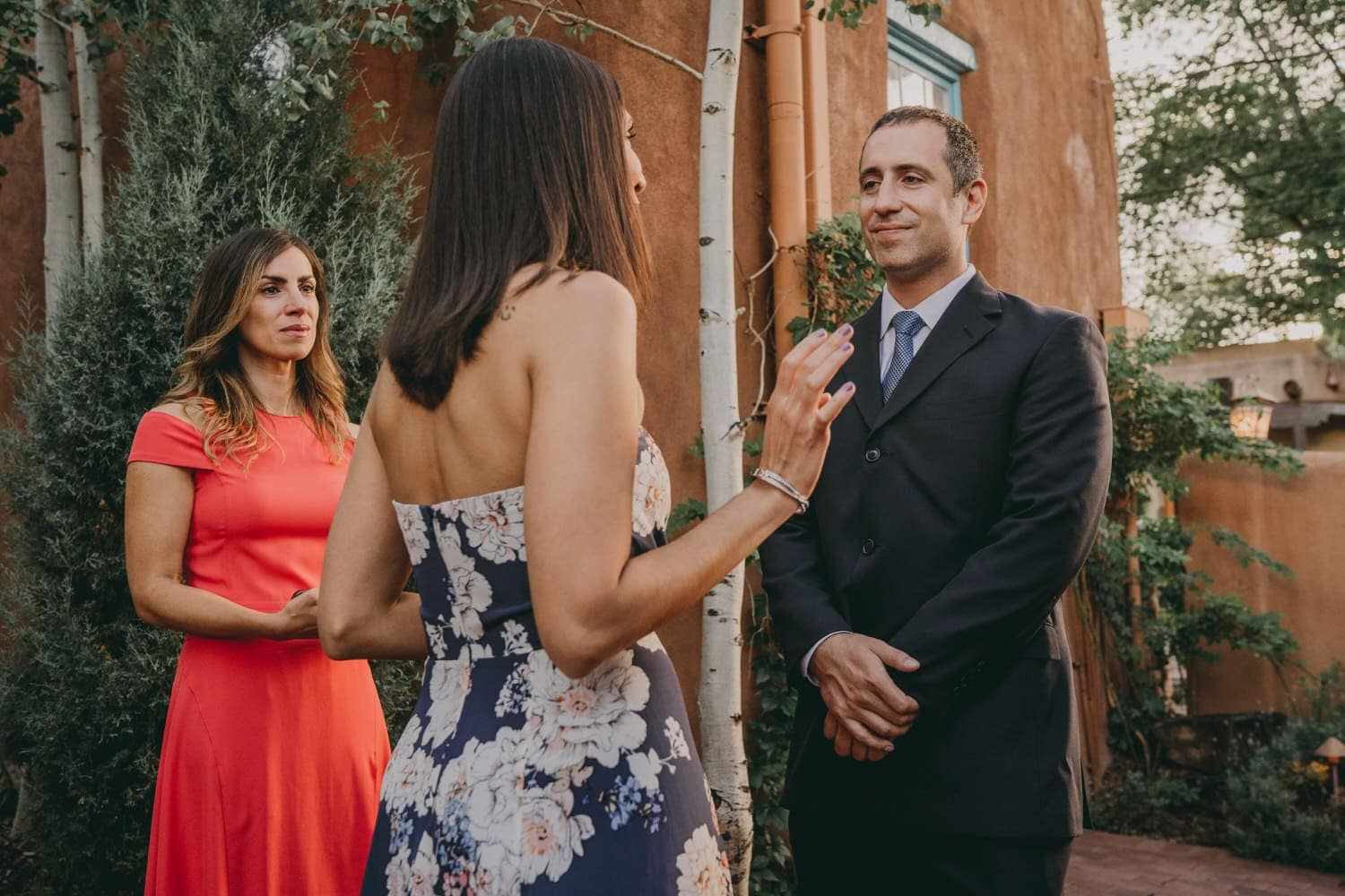 Groom starring into his brides eyes during their elopement