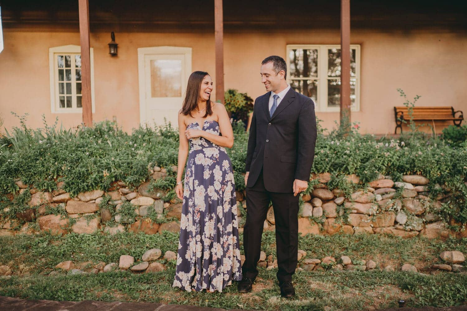 Newlyweds laughing and smiling after their destination Santa Fe wedding