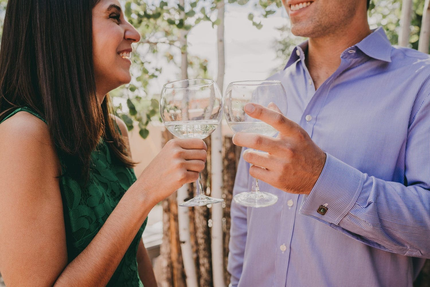 Bride and groom toasting their destination wedding in Santa Fe, New Mexico