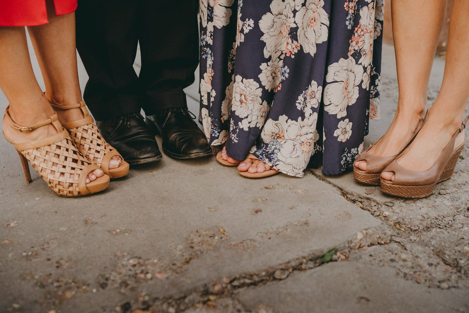Close up of bride and grooms feet