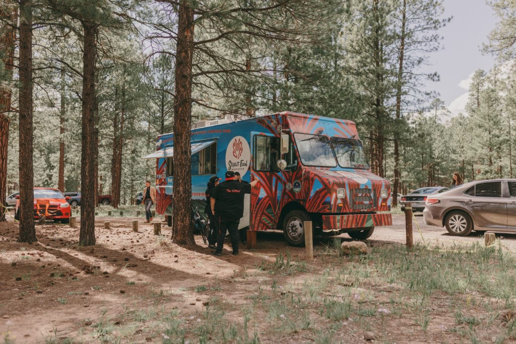 The Santa Fe Food Institute food truck has arrived for the wedding reception in Jemez, New Mexico